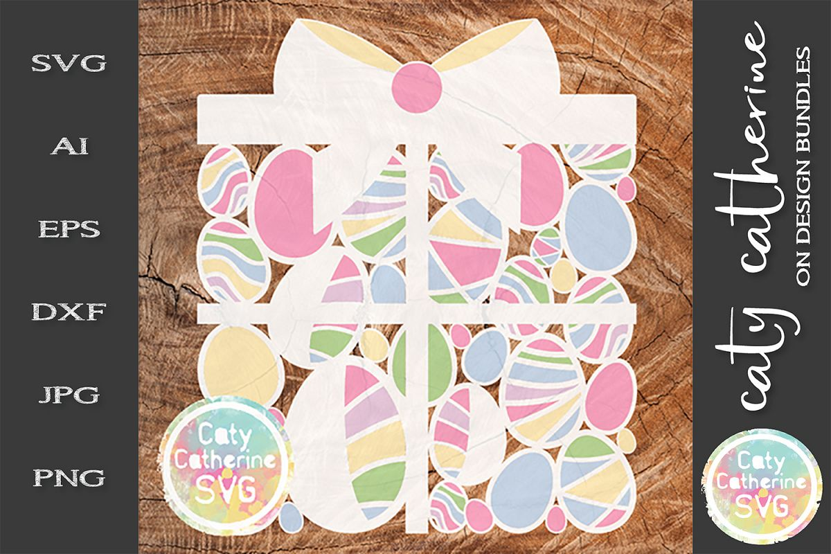 Easter Egg Gift Present Box SVG Cut File example image 1