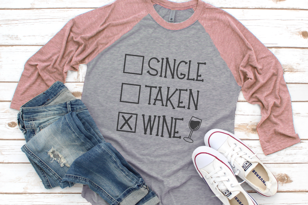 Valentine - Wine Lover - Single Taken Wine SVG example image 1