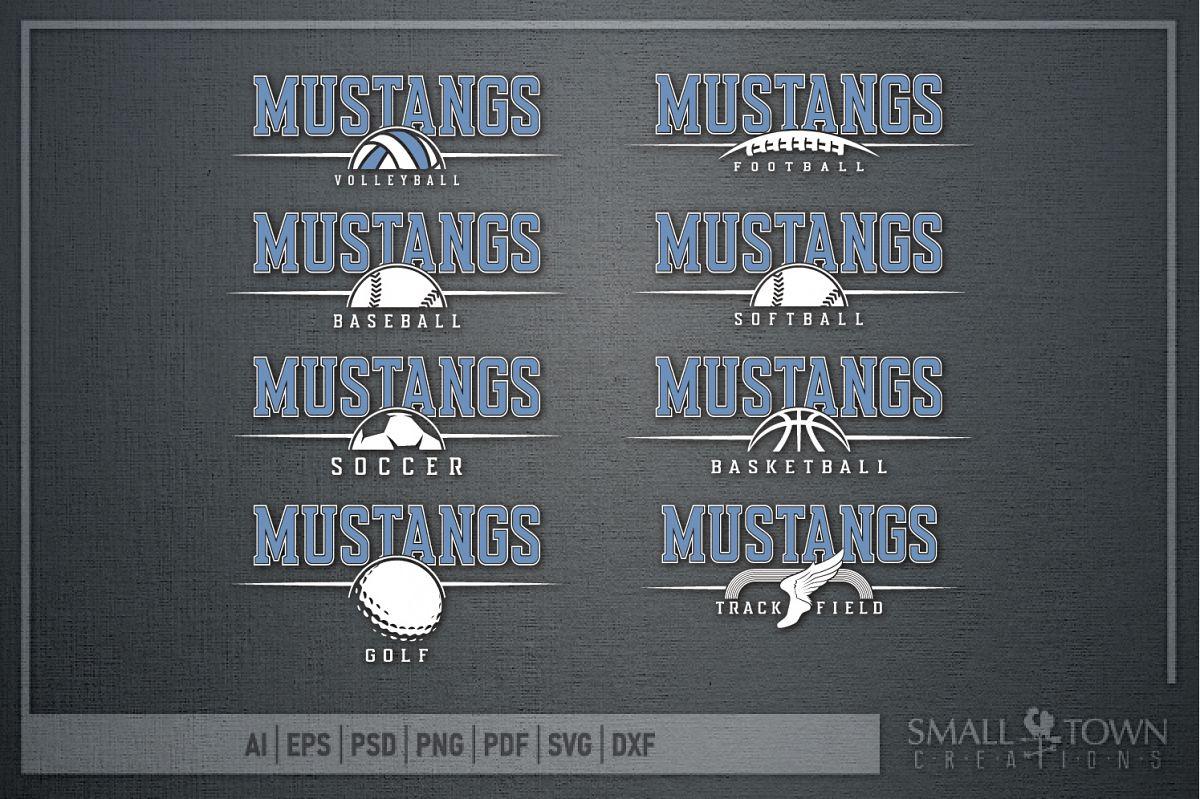 Mustang Sport Bundle, Logo, Team Mascot, PRINT, CUT & DESIGN example image 1