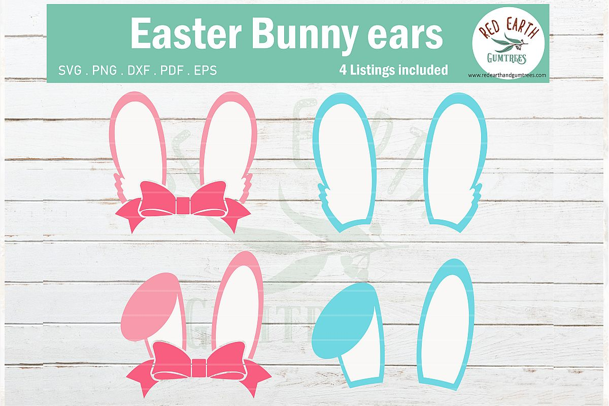 Easter bunny ears pink with bow,blue rabbit ears SVG,PNG,DXF example image 1