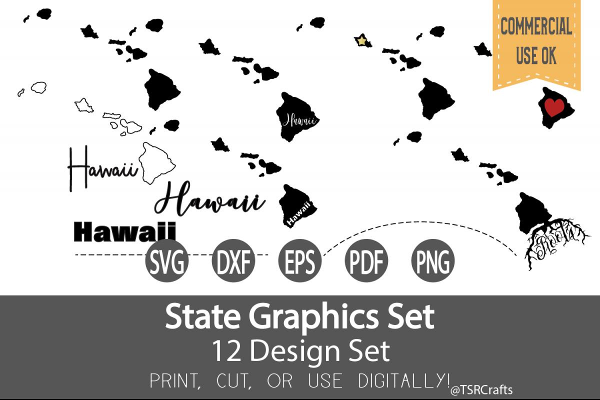 Hawaii State Graphics Set - Clip Art and Digital Cut fi example image 1