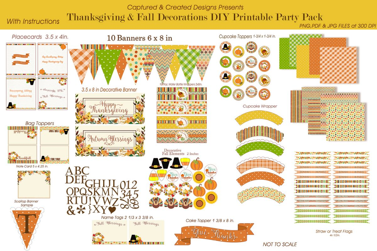 graphic about Thanksgiving Printable Decorations named Thanksgiving Drop Decorations Do-it-yourself Printable Social gathering Pack