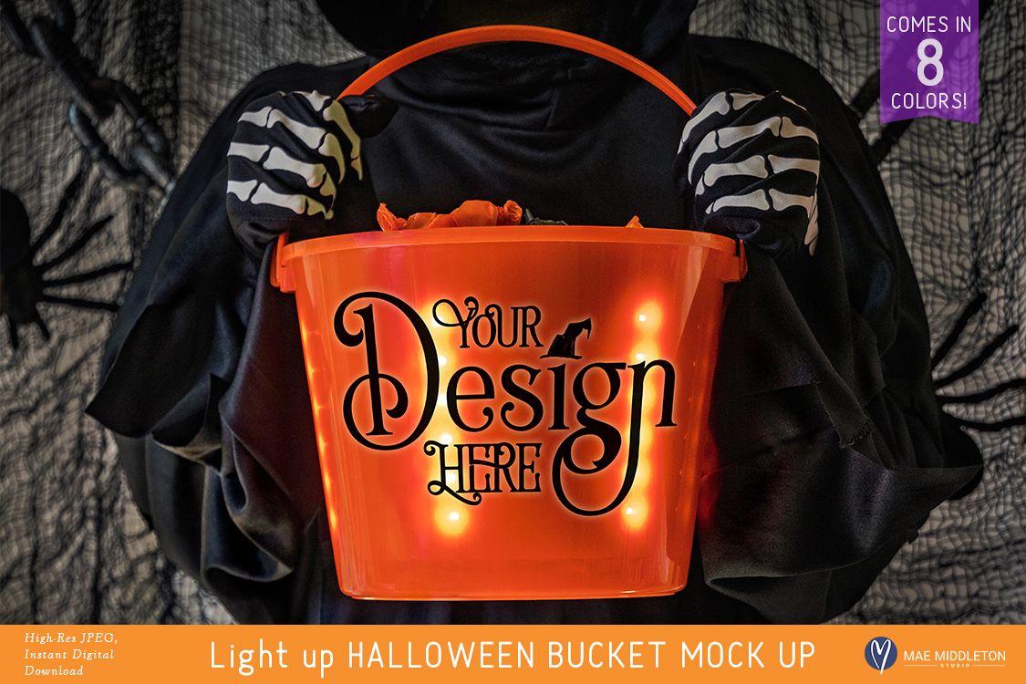 Light up Halloween Buckets - styled photo, mock ups example image 1