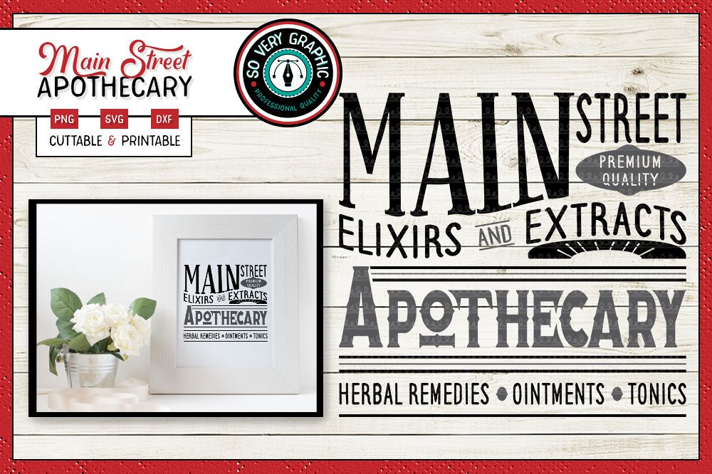 Main Street Apothecary | SVG | PNG | Vintage Farmhouse example image 1