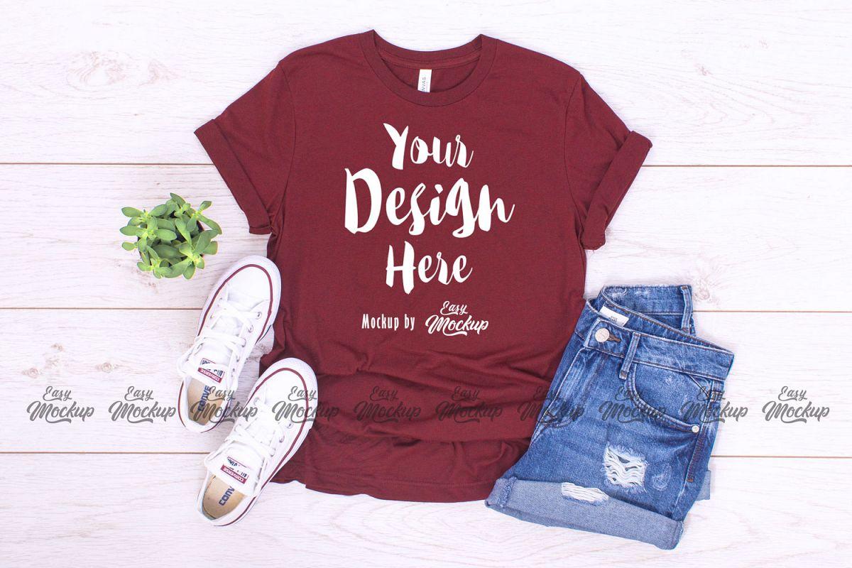 Heather Cardinal Bella Canvas 3001 T Shirt Mockup example image 1