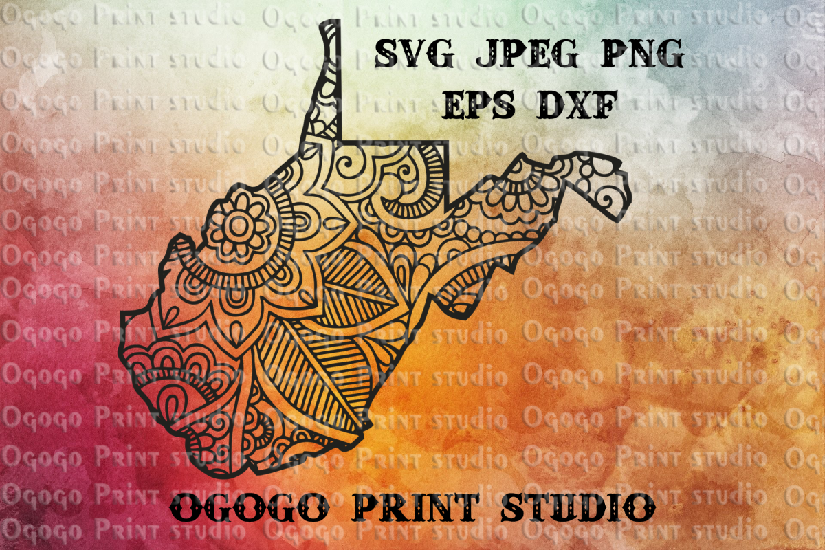 West Virginia svg, Map SVG, Zentangle SVG, Travel gifts example image 1