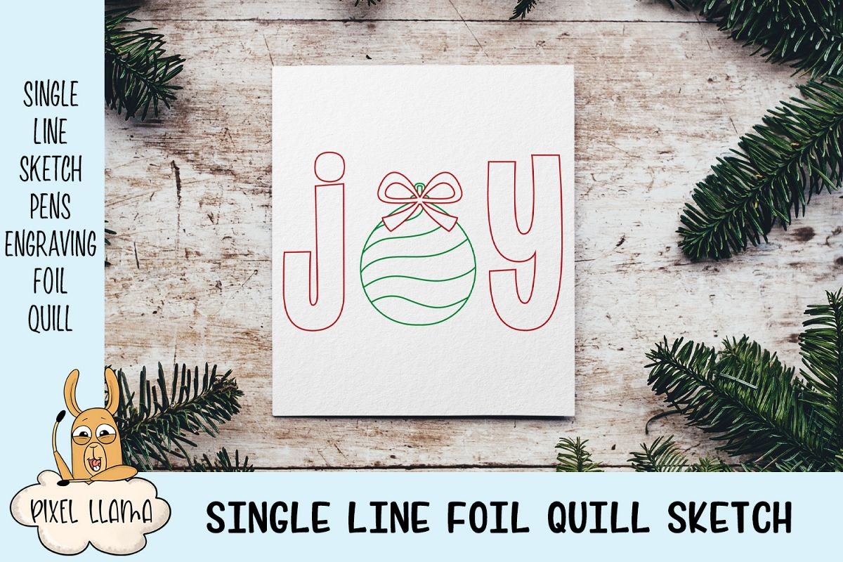 Joy Christmas Card Single Line Sketch example image 1