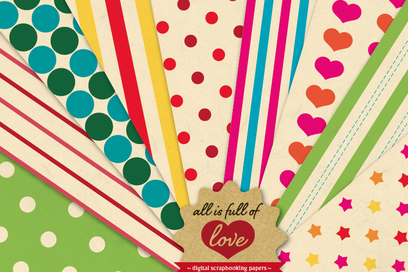 Rainbow Background Patterns Vintage Digital Paper Pack with Stripes, Dots, Stars and Hearts example image 1