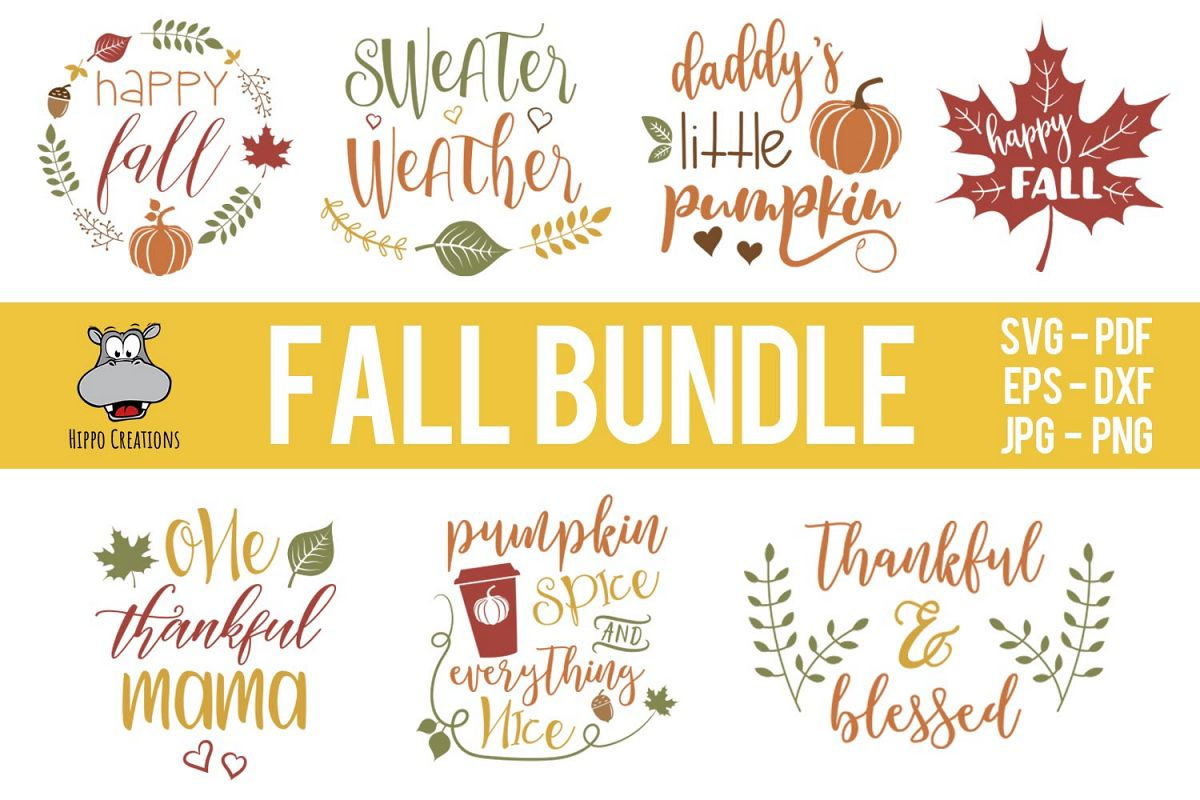 Fall Bundle SVG, Autumn Bundle, Thanksgiving, EPS DXF PNG example image 1