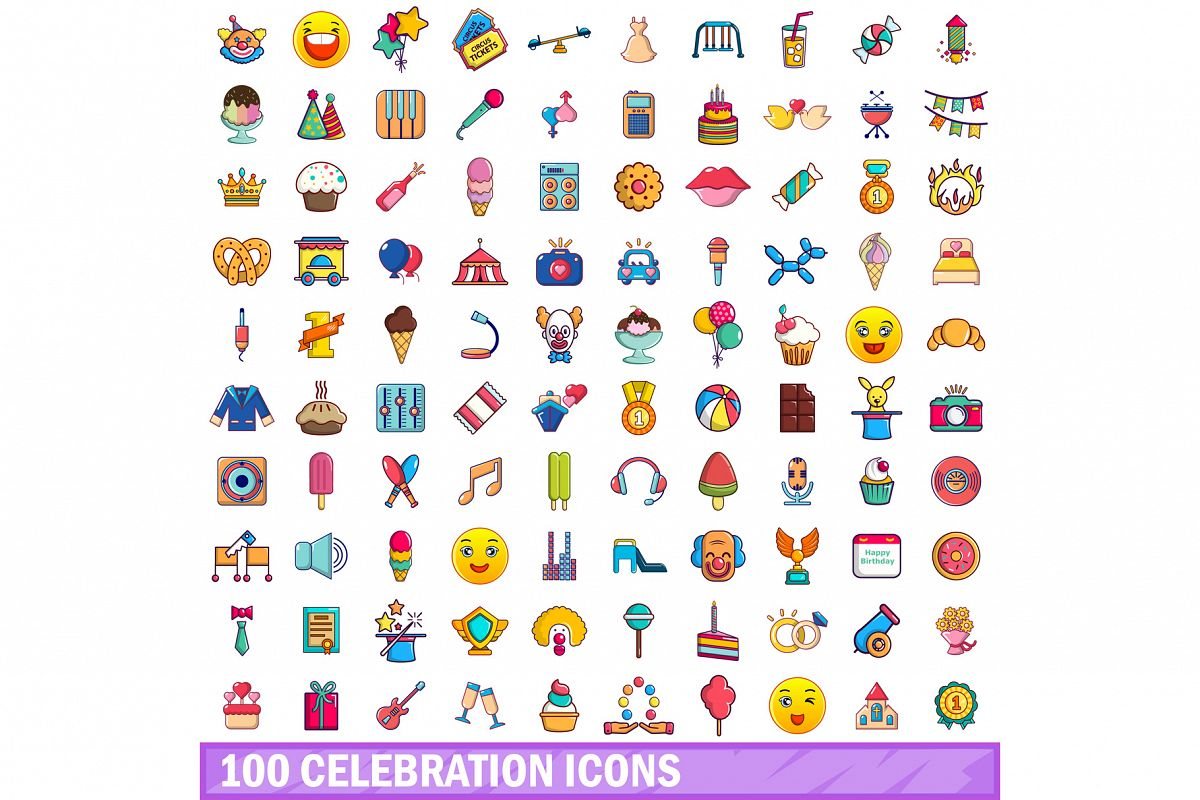 100 celebration icons set, cartoon style example image 1