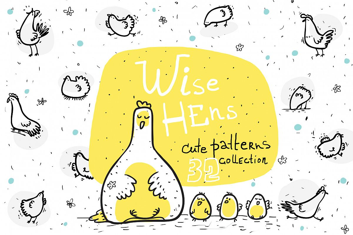 Wise Hens - 32 patterns, prints example image 1