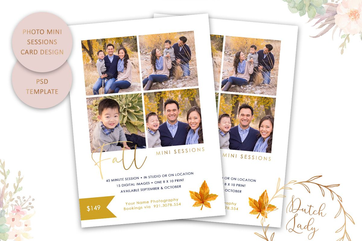 PSD Fall Photo Session Card Template - Design #47 example image 1