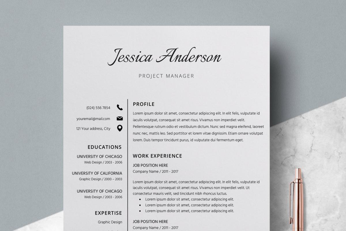 Resume Template Cv Cover Letter Jessica Anderson
