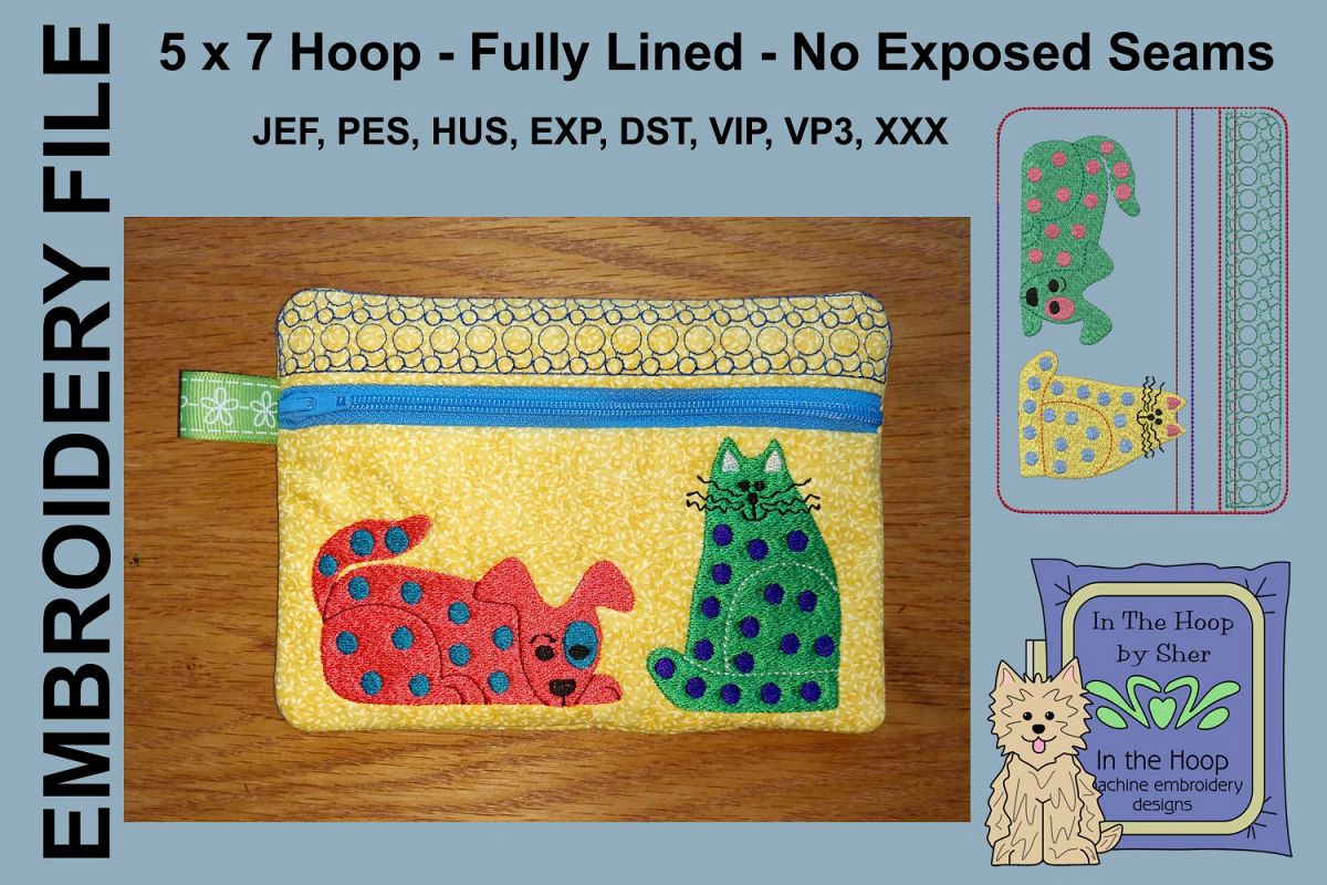 ITH Funky Cat & Dog Zipper Bag - Fully Lined, 5X7 HOOP example image 1