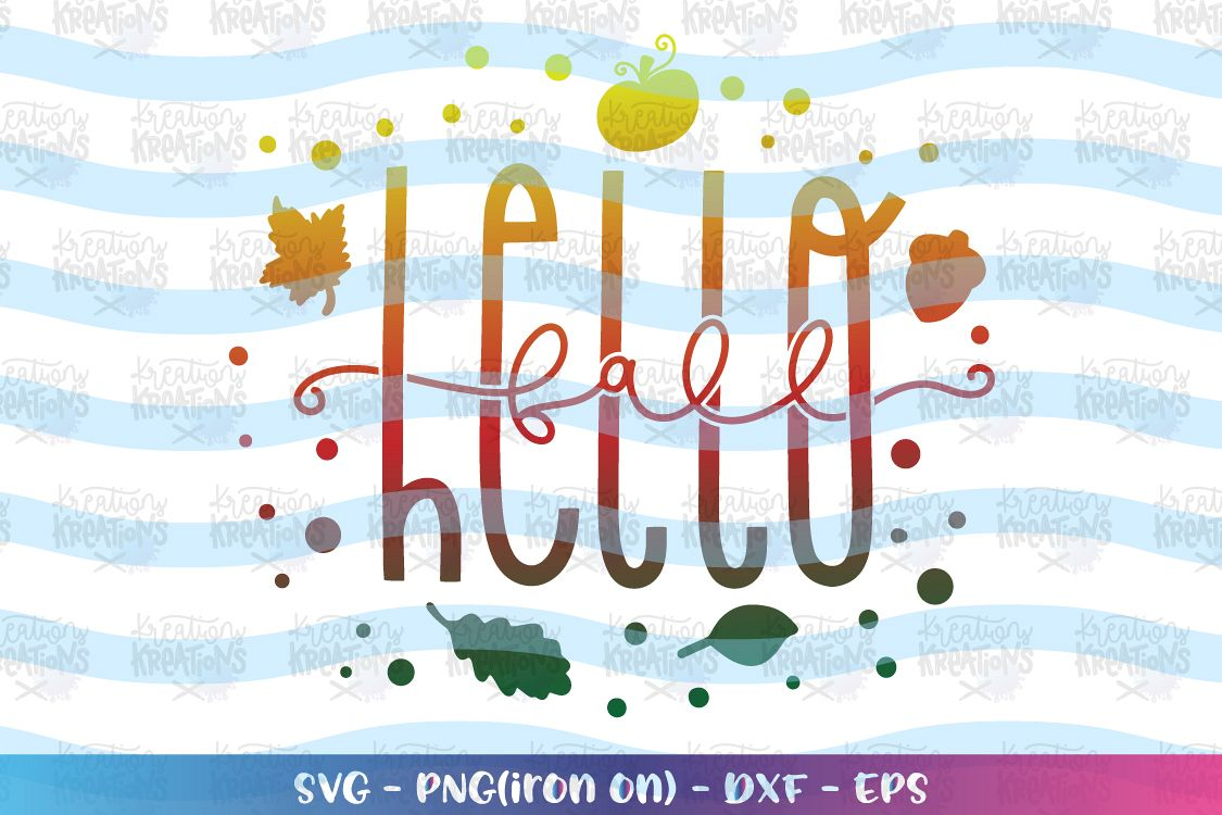 Fall SVG Hello Fall svg Fall sayings elements Autumn example image 1