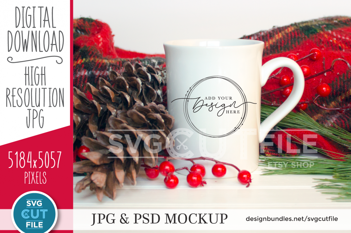 Mockup Coffee Cup, White mug mockup, plaid mock up christmas example image 1