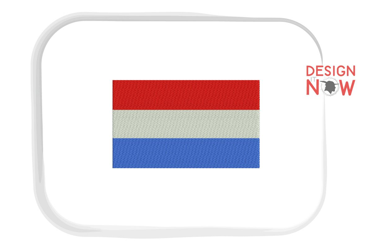 Flag Of Netherlands Embroidery Design, Map Embroidery example image 1