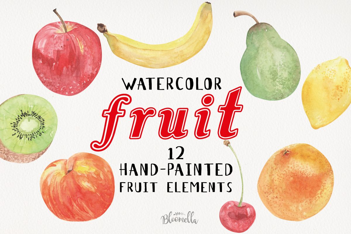 Fruit Watercolor Elements Hand Painted Apple Banana Fun Kiwi example image 1