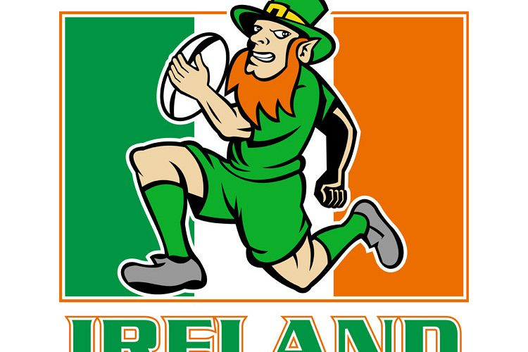 Irish leprechaun rugby player Ireland flag example image 1
