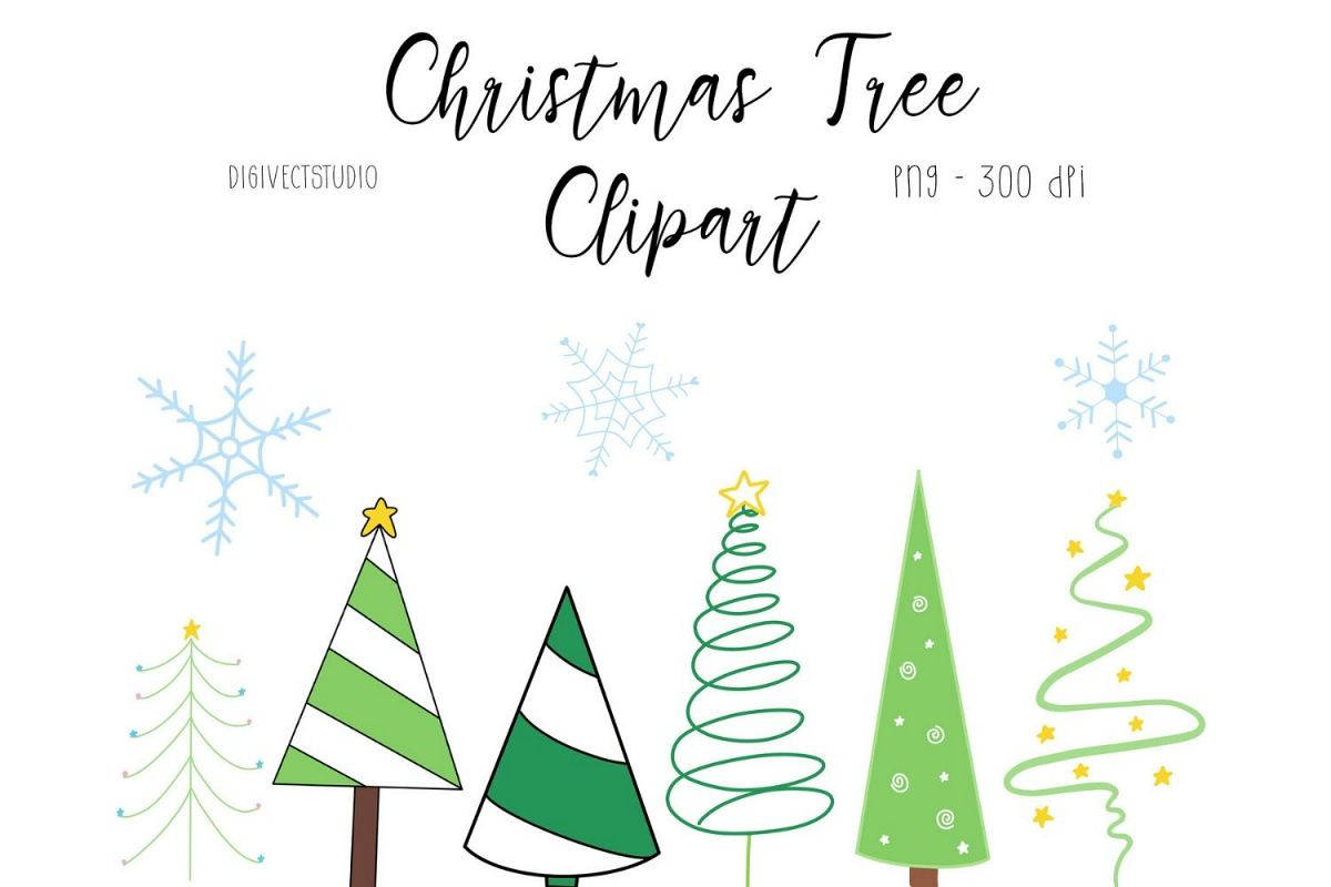 Christmas Tree Clipart- Digital Scrapbooking Elements example image 1