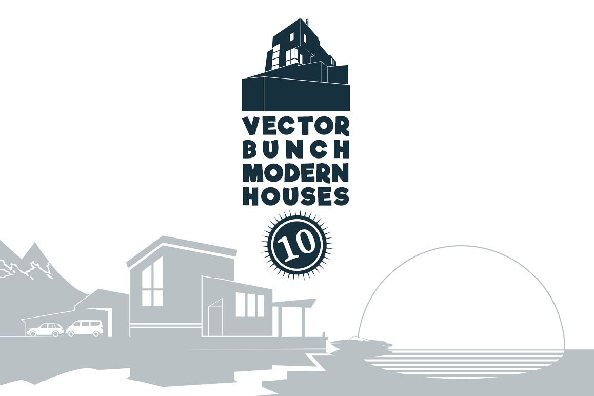 VECTOR BUNCH MODERN HOUSES example image 1