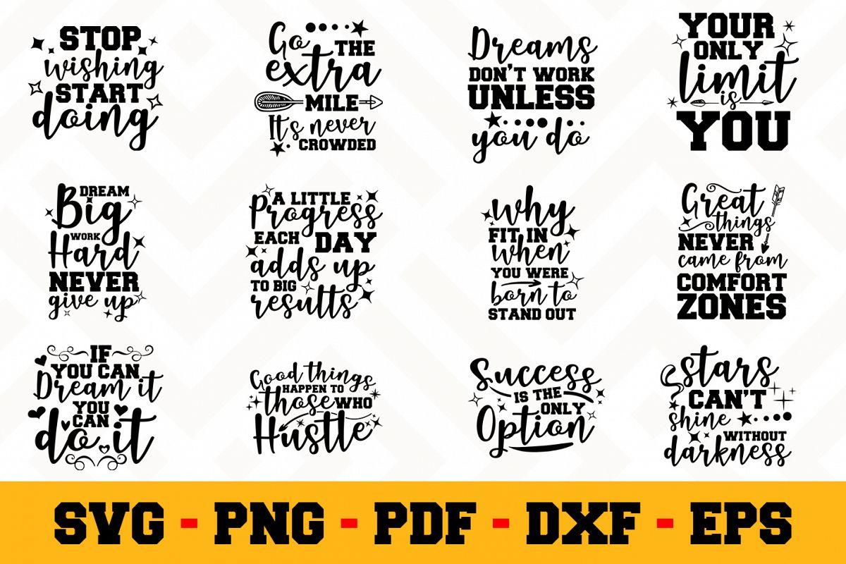 Motivation 12 Designs Pack   Motivational SVG Bundle example image 1