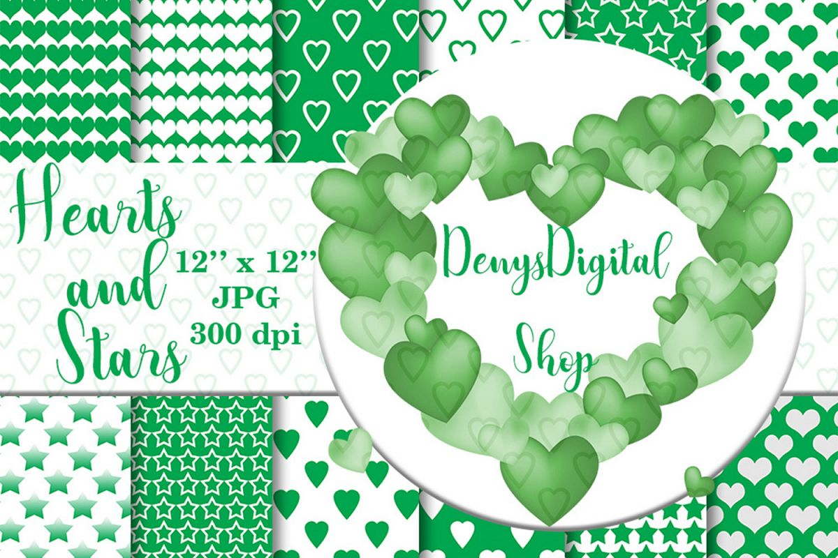 Green heart, stars patterned, green, white, stars, OFF, SALE example image 1