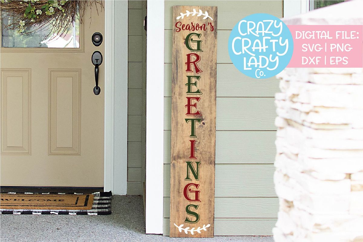Season's Greetings Porch Sign SVG DXF EPS PNG Cut File example image 1