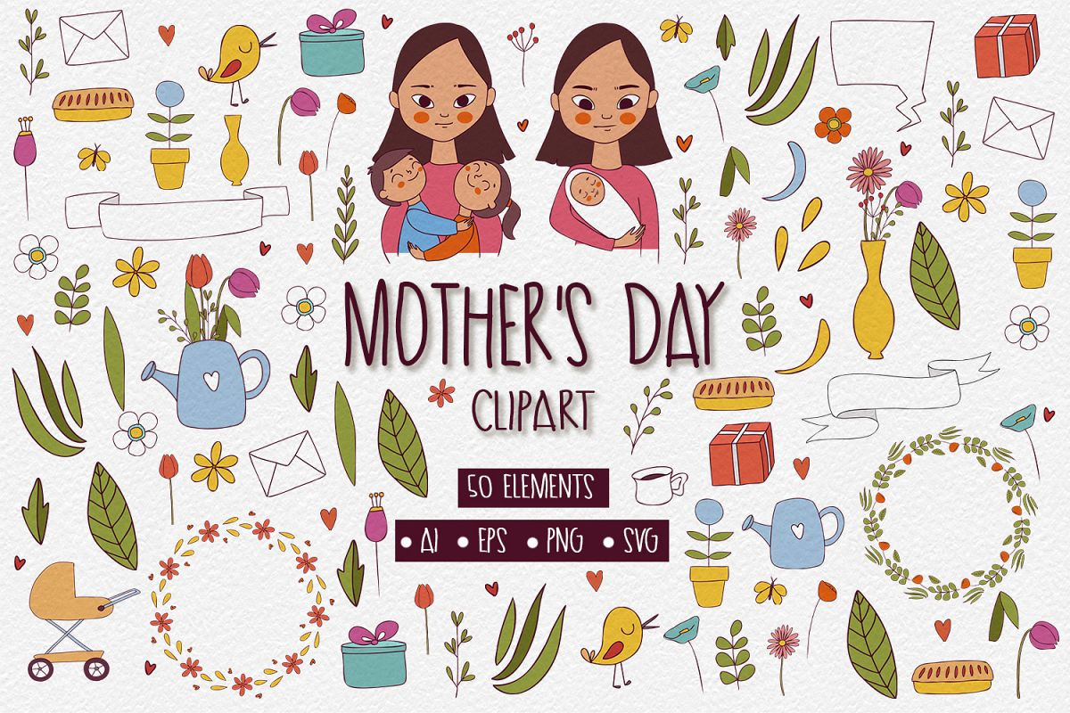 50 Mothers Day Clipart Elements example image 1
