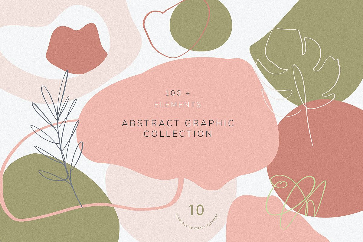 Collection of abstract shapes, lines and floral elements. example image 1