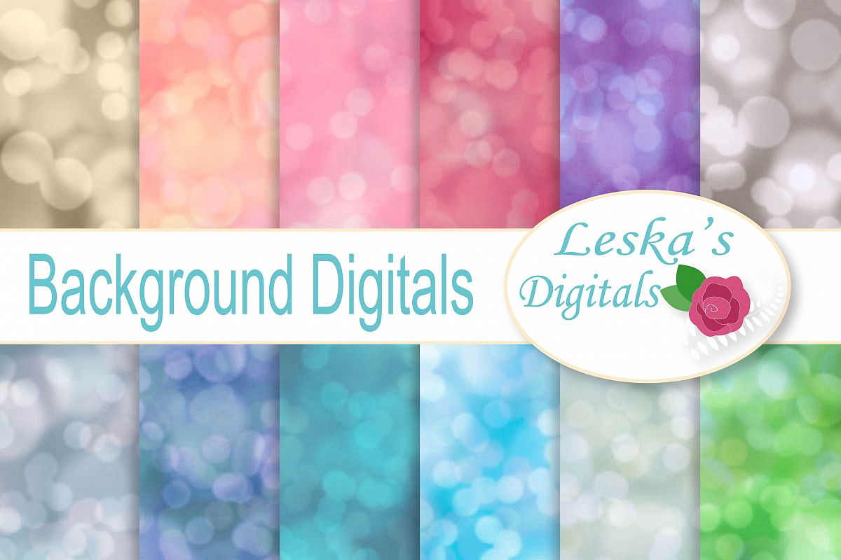 Blurred Backgrounds, Bokeh Digital Paper example image 1
