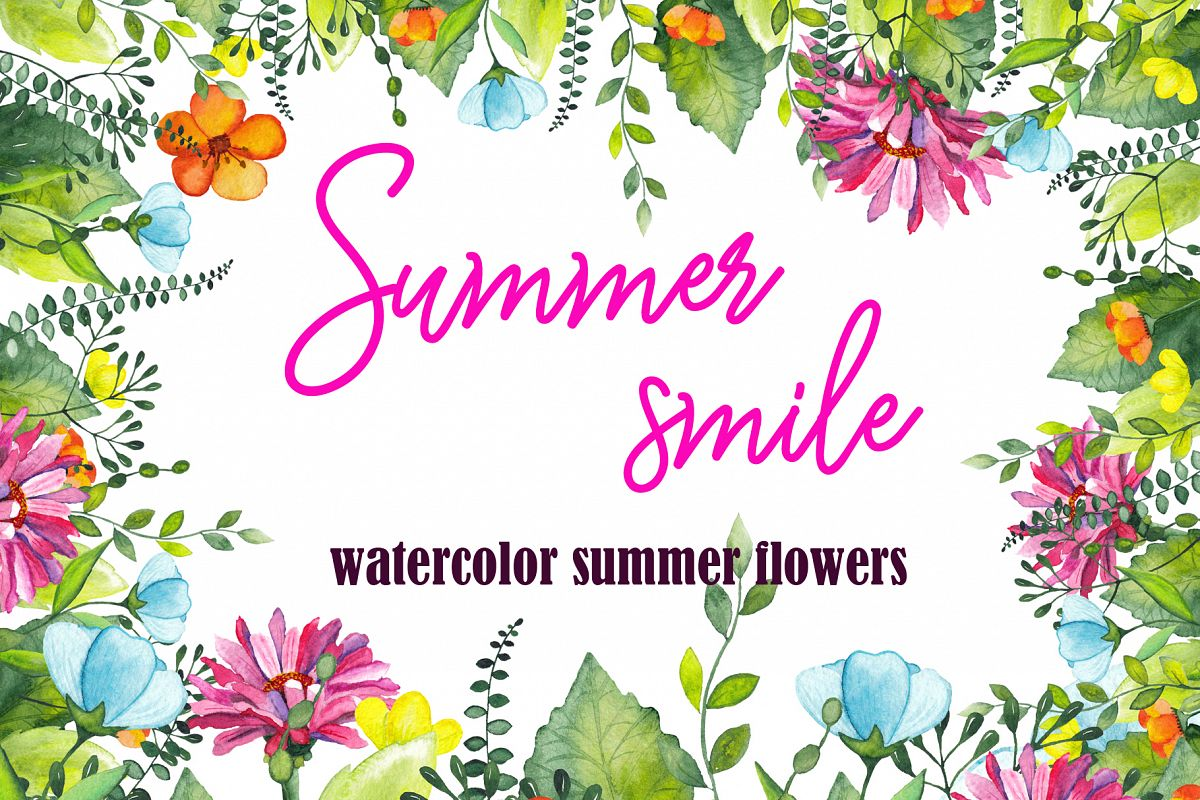 Watercolor summer flowers example image 1