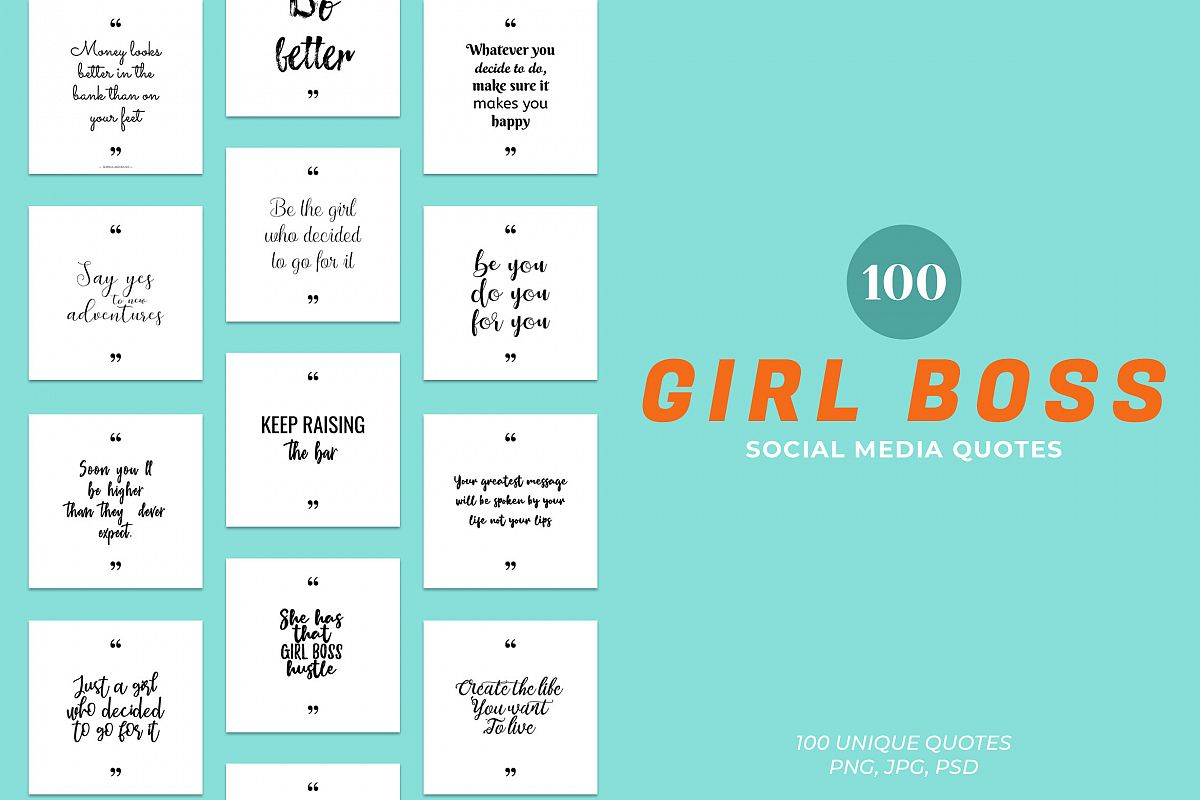 Girl Boss Social Media Quotes Pack