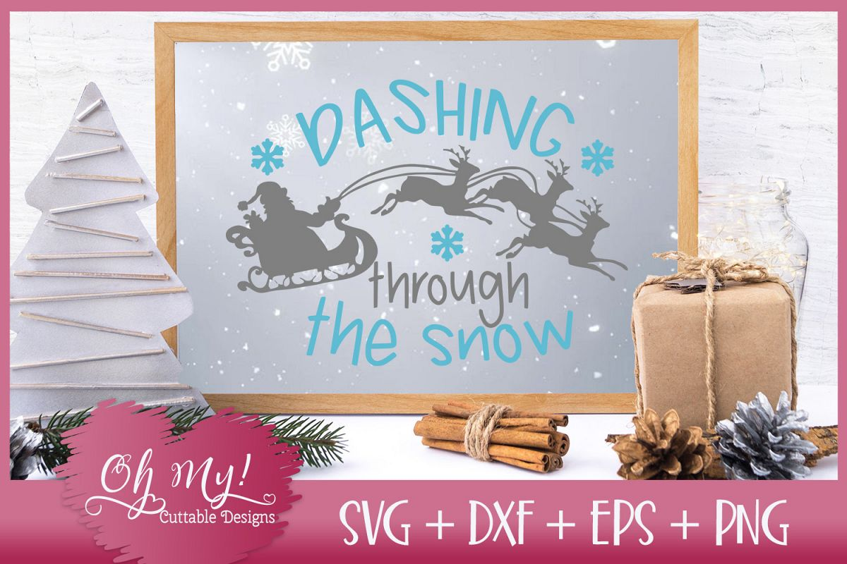 Dashing Through The Snow - SVG EPS DXF Cutting File example image 1