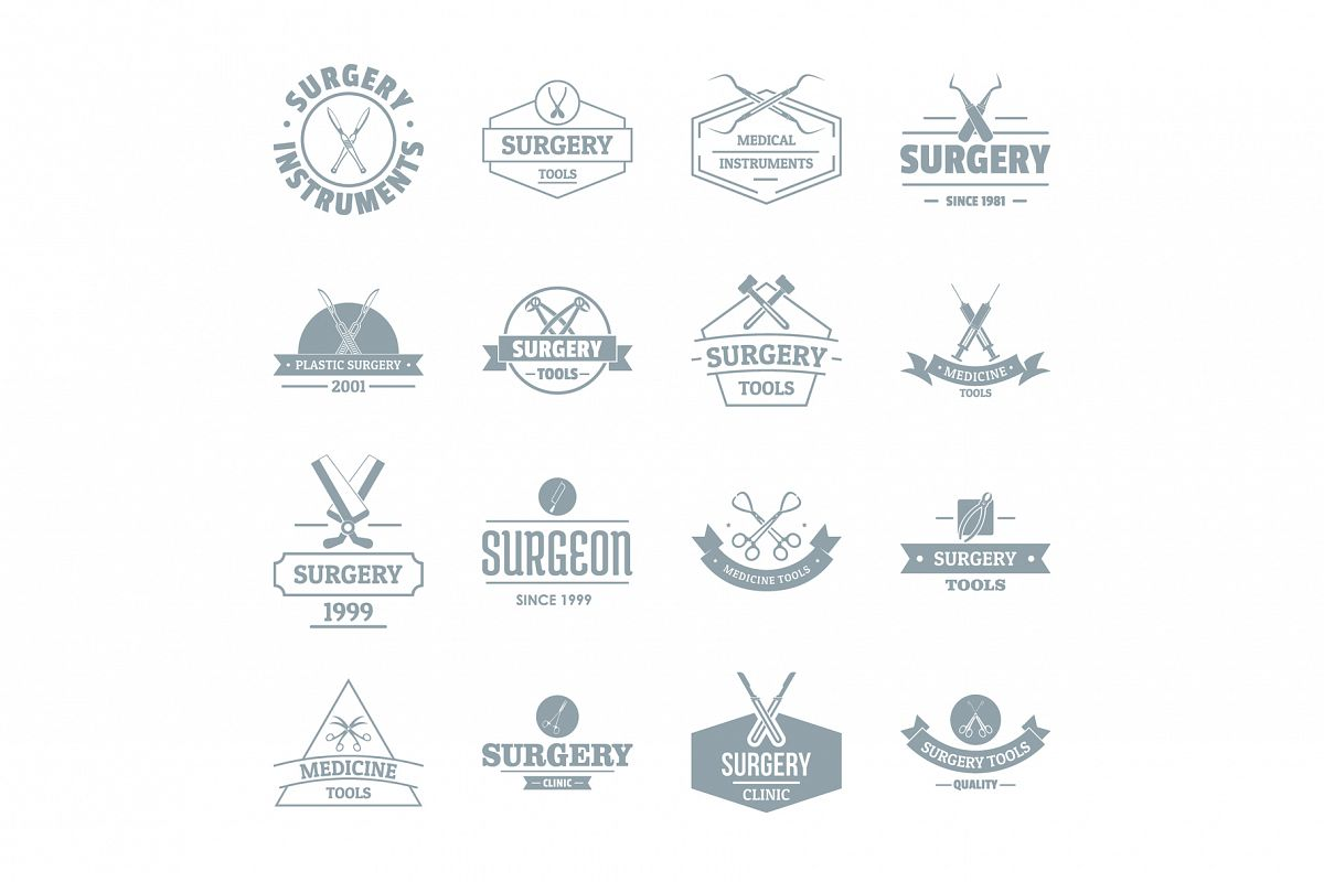 Surgery tools logo icons set, simple style example image 1