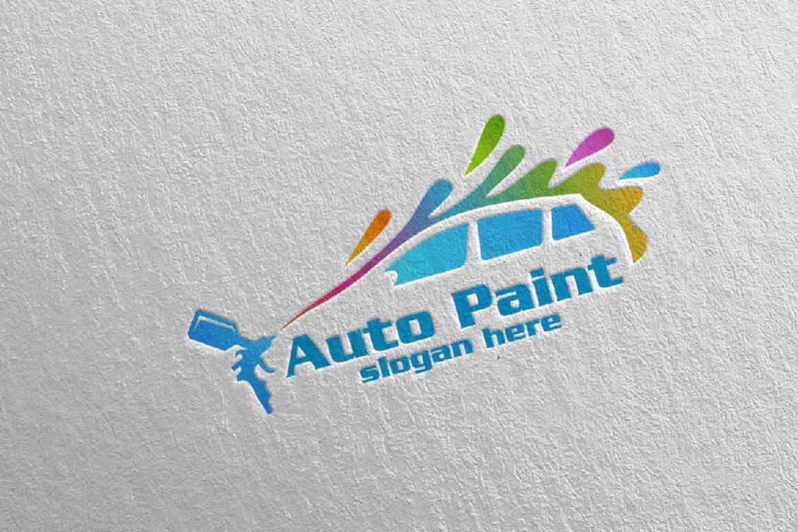 car painting logo with spray gun and sp design bundles