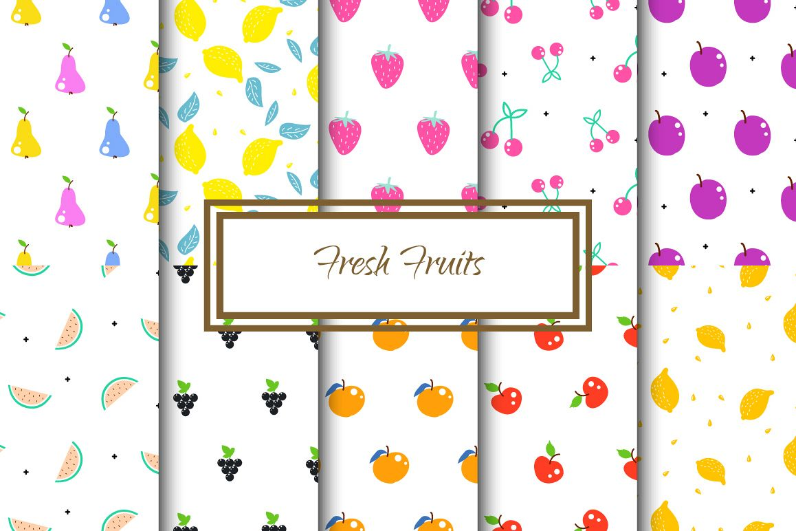 Fresh Fruits - Seamless Patterns example image 1