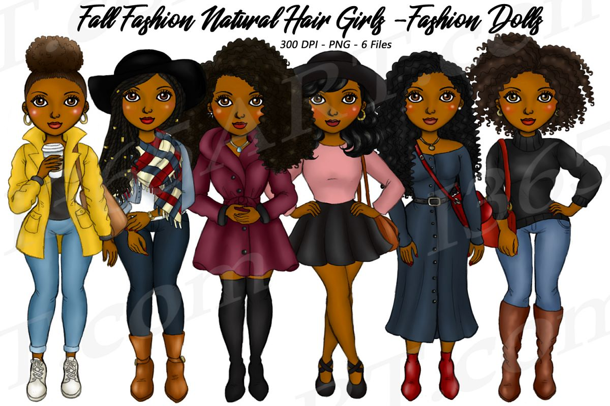 Fall Fashion Autumn Girls Natural Hair Planner Clipart Set example image 1