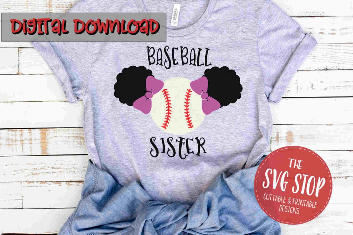 Baseball Sister Puffs -SVG, PNG, DXF example image 1