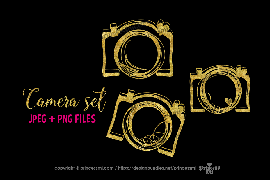 Gold camera , glitter clipart set example image 1
