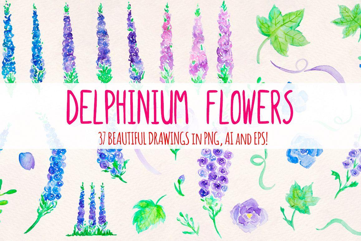 37 Delphinium Flower Hand Painted Watercolour Elements example image 1