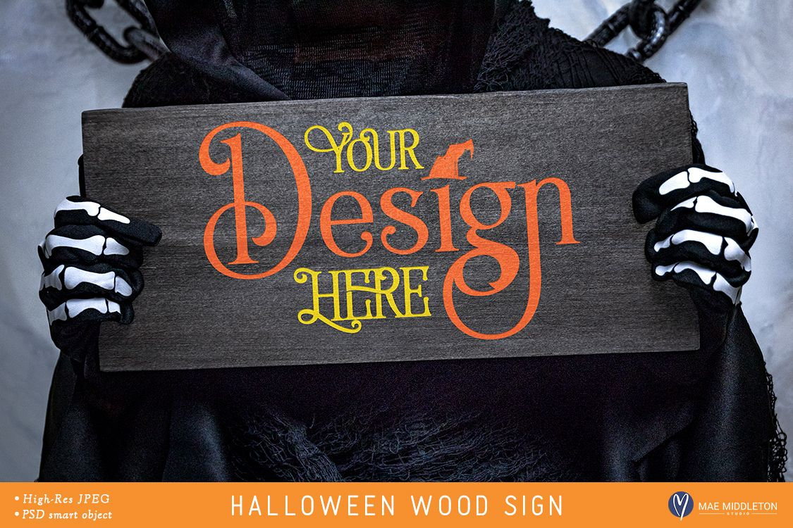 Wood Sign Mock up for Halloween example image 1