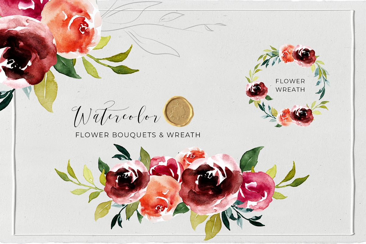Watercolor Floral Wreath, Frames and Bouquets example image 1