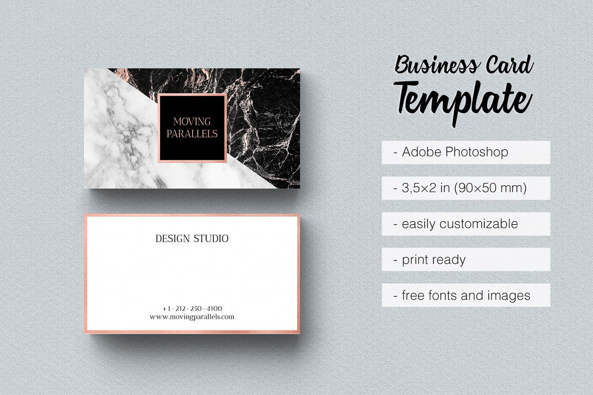 Rose Gold Foil Marble Business Card