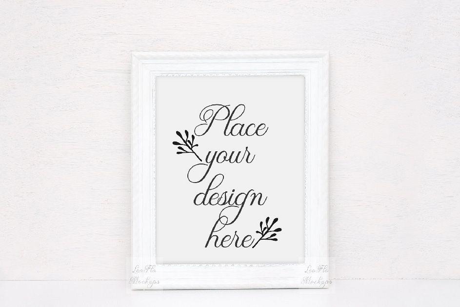 Monochromatic White rustic frame mockup | Design Bundles