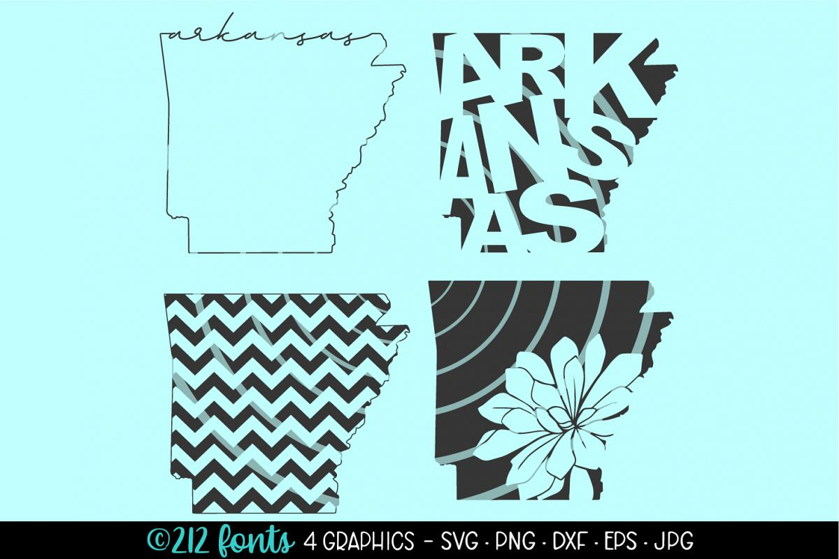 4 - Arkansas State Map Graphic Cut File DXF PNG JPG SVG EPS example image 1