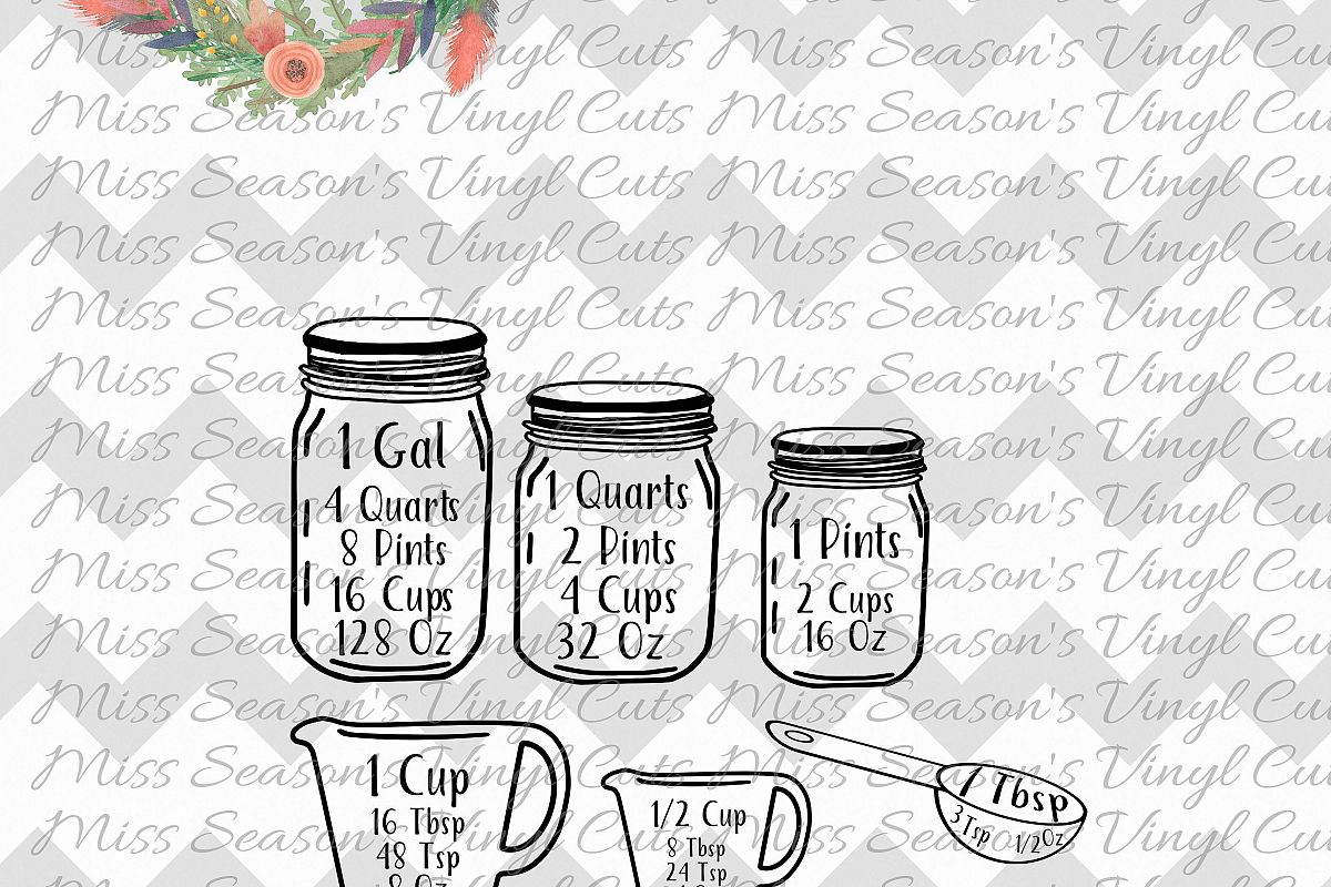 Mason Jar Measurement Chart example image 1