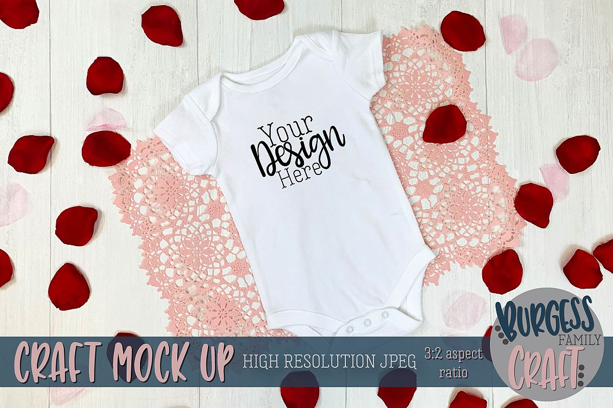 Valentine white baby bodysuit Craft mock up example image 1