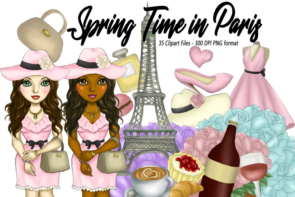 Springtime in Paris Clipart Girls & Fashion Illustrations example image 1