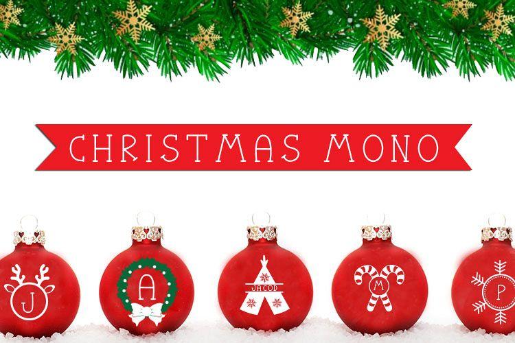 Christmas Mono, a font with frames of Christmas monograms example image 1